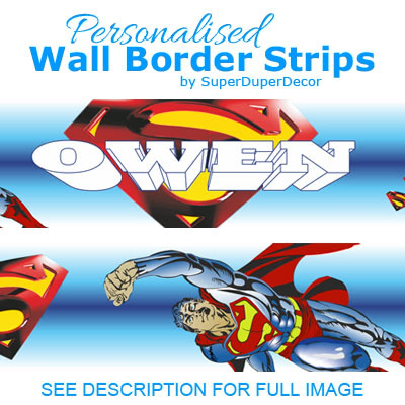 SUPERMAN logo PERSONALISED bedroom WALL BORDER STRIPS